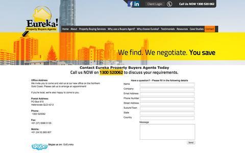Screenshot of Contact Page eureka-property.com.au - Eureka Property Buyers Agent   Real Estate Investment - captured Oct. 3, 2014