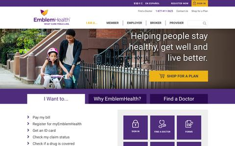 Screenshot of Home Page emblemhealth.com - EmblemHealth: Family & Individual Health Insurance Plans In New York - captured Oct. 1, 2015