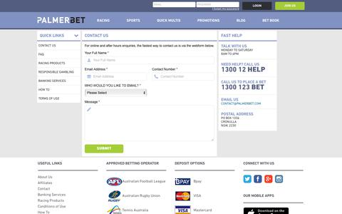 Screenshot of Contact Page palmerbet.com - Contact Palmerbet | Need Help in Placing Bet - captured July 15, 2018