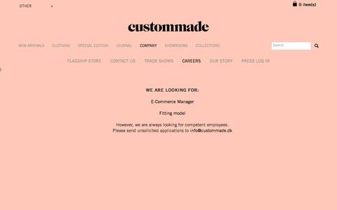 Screenshot of Jobs Page custommade.dk - Custommade Careers - Are you our next colleague? - captured March 8, 2016