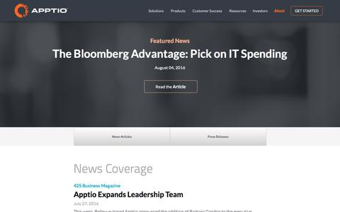 Screenshot of Press Page apptio.com - News Room | Apptio - captured Oct. 28, 2016