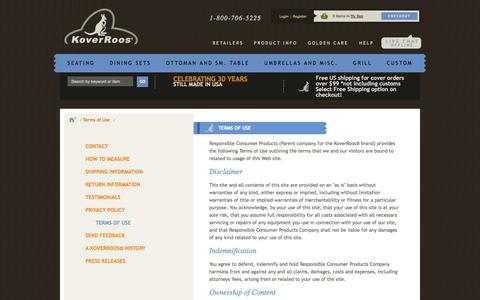Screenshot of Terms Page koverroos.com - Terms of Use - captured Oct. 26, 2014