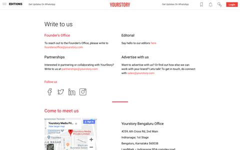Screenshot of Contact Page yourstory.com - Contact Us | YourStory.com - captured April 26, 2019