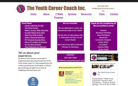 Screenshot of Contact Page theyouthcareercoach.com - In Alexandria, VA, The Youth Career Coach offers career development training to students. - captured Feb. 16, 2016