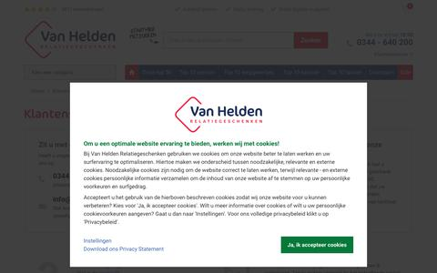 Screenshot of Support Page vanhelden.nl - Klantenservice | Van Helden Relatiegeschenken - captured Sept. 26, 2018