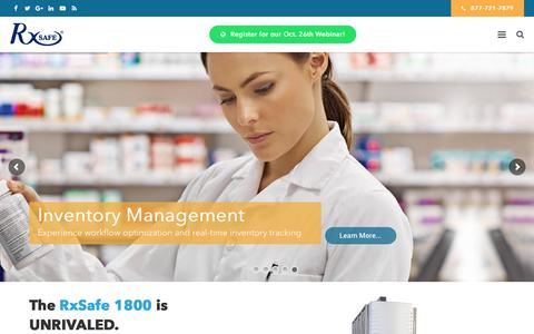 Screenshot of Home Page rxsafe.com - Pharmacy Automation Systems | Robotic Pharmacy Automation | RxSafe - captured Oct. 23, 2017