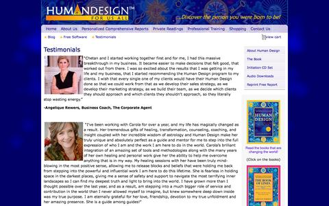 Screenshot of Testimonials Page humandesignforusall.com - Testimonials | Human Design For Us All - captured Oct. 30, 2014