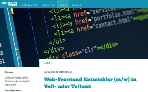 Screenshot of Jobs Page dittmann-media.de - Job Köln - Web-Frontend Entwickler - Dittmann Media GmbH - captured Feb. 9, 2016