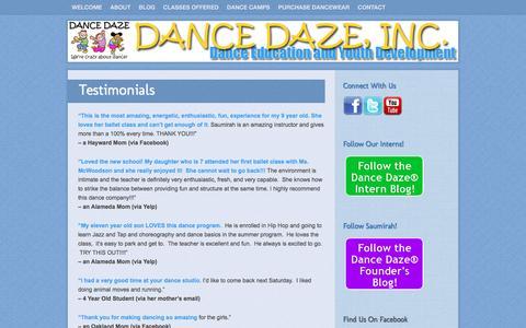 Screenshot of Testimonials Page dancedaze.org - Testimonials | Dance Daze | Dance Education & Youth Development - captured Nov. 23, 2016