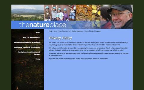 Screenshot of Privacy Page thenatureplace.net - Privacy Policy | The Nature Place | The Nature Place - captured Oct. 9, 2014