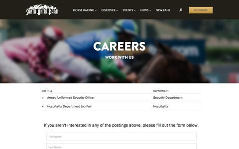 Screenshot of Jobs Page santaanita.com - Careers - Santa Anita Park - captured Sept. 6, 2016