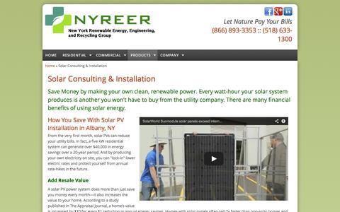 Screenshot of Products Page nyreer.com - Solar Installation Albany, NY - Solar Consulting   Solar PV Albany - captured Nov. 5, 2014