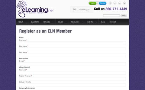 Screenshot of Signup Page elearning.net - Register as an ELN Member - The eLearning Network - captured Oct. 10, 2014