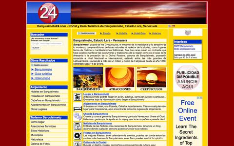 Screenshot of Home Page barquisimeto24.com - Barquisimeto estado Lara, Venezuela - Guia Turistica - captured Oct. 12, 2015