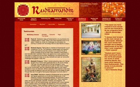 Screenshot of Testimonials Page rudramandir.com - Testimonials | Rudramandir | Berkeley, CA - captured Oct. 9, 2014