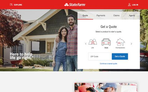 Screenshot of Home Page statefarm.com - Get Insurance Quotes - Save on Auto Insurance - State Farm® - captured Oct. 27, 2017