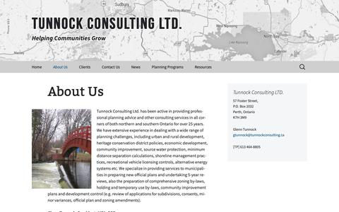 Screenshot of About Page tunnockconsulting.ca - About Us | Tunnock Consulting Ltd. - captured Oct. 18, 2018