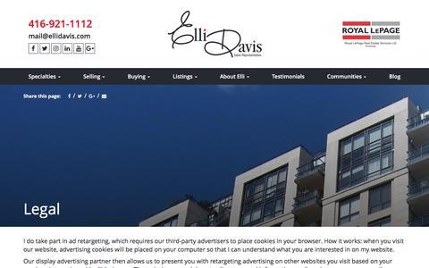 Screenshot of Terms Page ellidavis.com - Legal | Elli Davis - captured Sept. 28, 2017