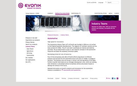 Automotive - Evonik Industries - Specialty Chemicals