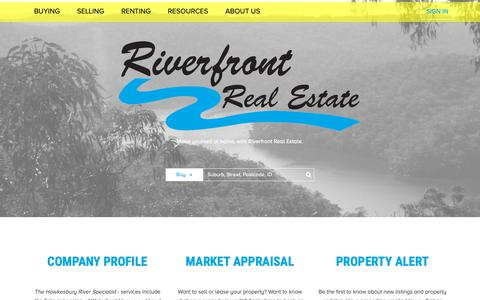 Screenshot of Home Page riverfront.com.au - Riverfront Real Estate specialises in real estate in  - Home Page - captured Oct. 29, 2018