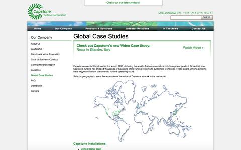 Screenshot of Case Studies Page capstoneturbine.com - Capstone Turbine Corporation | Our Company | Global Case Studies - captured Oct. 10, 2014