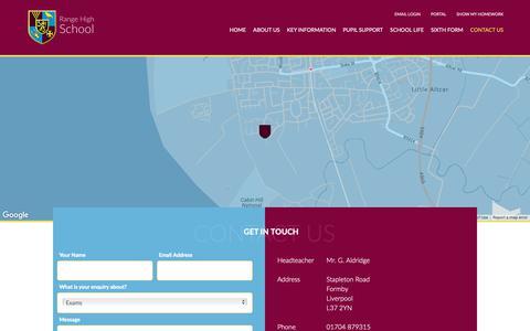 Screenshot of Contact Page range.sefton.sch.uk - Contact Us - Range High - captured Oct. 29, 2018