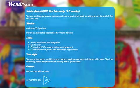 Screenshot of Jobs Page wondrworld.com - WondrWorld: join us - captured Oct. 7, 2014