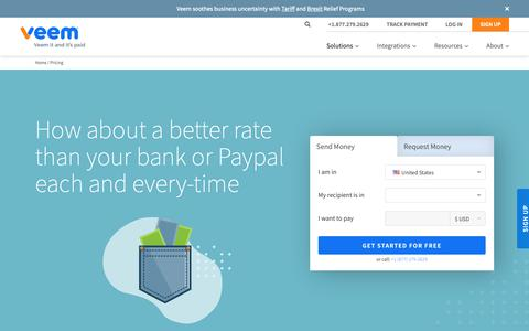 Screenshot of Pricing Page veem.com - Better Rates than Banks | Flexible Prices Built for Business | Veem - captured May 18, 2019