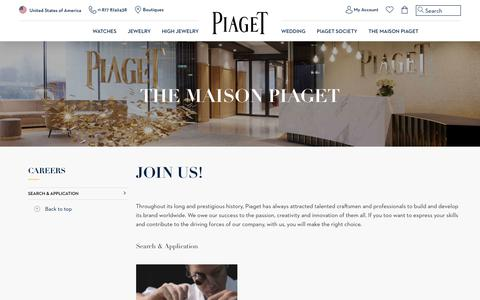 Screenshot of Jobs Page piaget.com - Piaget Luxury Jewelry and Watches - Recruitment & Applications - captured April 9, 2018