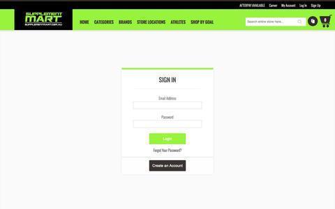 Screenshot of Login Page supplementmart.com.au - Customer Login - captured Dec. 11, 2018