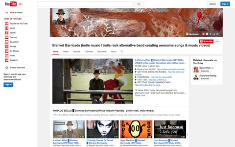 Screenshot of YouTube Page youtube.com - Blanket Barricade (indie music / indie rock alternative band creating awesome songs & music videos)  - YouTube - captured Oct. 23, 2014