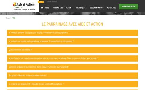 Screenshot of FAQ Page aide-et-action.org - F.A.Q. - - captured Oct. 27, 2014
