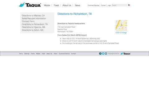 Screenshot of Maps & Directions Page taqua.com - Directions to Richardson, TX - Taqua - captured Dec. 4, 2015