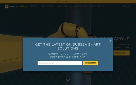 Screenshot of Home Page bardotgroup.com - BARDOT smart subsea solutions - Umbilical Riser Flowline Water Intake - captured Oct. 1, 2018