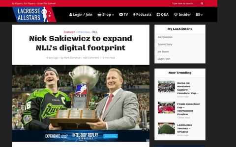 Screenshot of laxallstars.com - Nick Sakiewicz to expand National Lacrosse League's digital footprint - captured Aug. 27, 2016