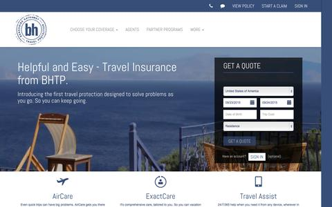 Screenshot of Home Page bhtp.com - Travel Insurance | Berkshire Hathaway Travel Protection - captured Sept. 22, 2015