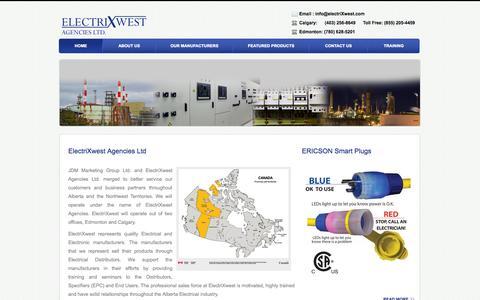 Screenshot of Home Page electrixwest.com - ElectrixWest Agencies LTD - captured Oct. 2, 2014
