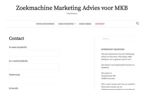 Screenshot of Contact Page gustavssonmarketing.nl - Contact - Zoekmachine Marketing Advies voor MKB - captured Nov. 16, 2016
