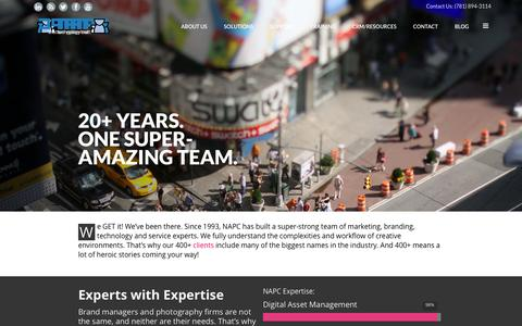 Screenshot of About Page napc.com - NAPC   Solutions Provider for Brands and Creative Teams - captured Oct. 7, 2014