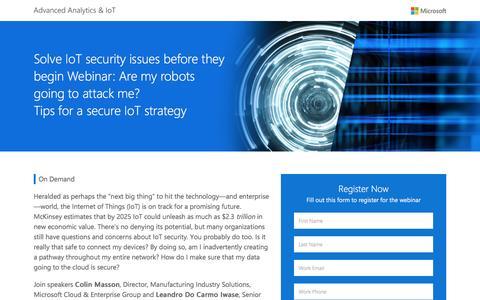 Screenshot of Landing Page microsoft.com - Tips for a Secure IoT Strategy Webinar   Microsoft - captured Dec. 12, 2016