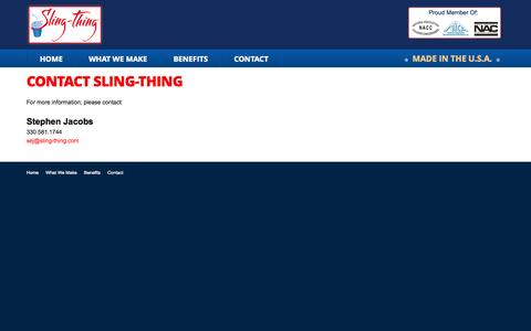 Screenshot of Contact Page sling-thing.com - Sling Thing - captured Oct. 26, 2014