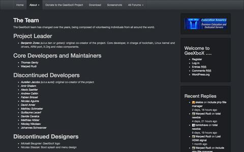 Screenshot of Team Page geexbox.org - The Team - GeeXboX - captured July 16, 2018
