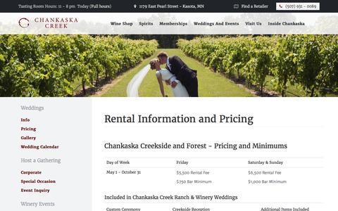 Screenshot of Pricing Page chankaskawines.com - Chankaska Creek Ranch & Winery - captured July 24, 2017