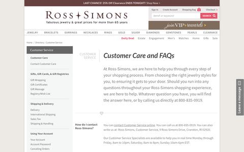 Screenshot of FAQ Page ross-simons.com - Customer Service - captured July 4, 2018