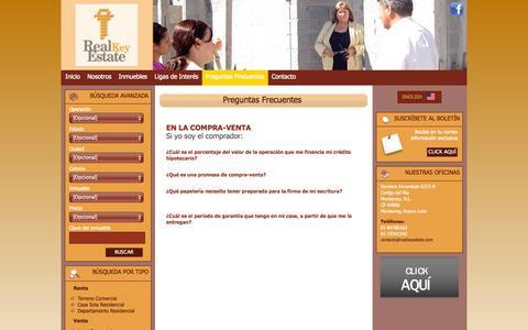Screenshot of FAQ Page realkeyestate.com - Real Key Estate - Preguntas Frecuentes - captured Oct. 7, 2014