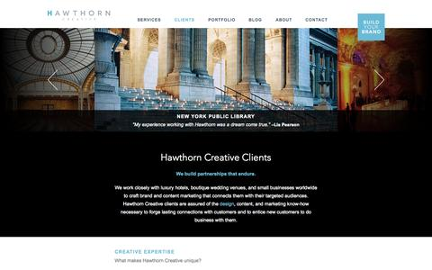 Screenshot of Testimonials Page hawthorncreative.com - Clients - captured July 20, 2015