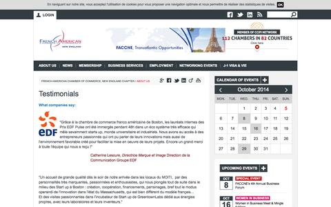 Screenshot of Testimonials Page faccne.org - Testimonials | French-American Chamber of Commerce, New England Chapter - captured Oct. 5, 2014