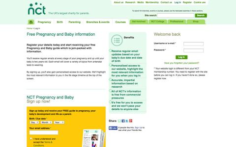 Screenshot of Login Page nct.org.uk - NCT | The UK's largest charity for parents. - captured Sept. 18, 2014