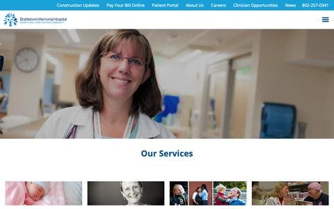 Screenshot of Services Page bmhvt.org - Services at Brattleboro Memorial Hospital - captured Sept. 27, 2018