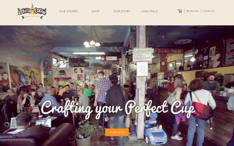 Screenshot of Home Page philzcoffee.com - Philz Coffee - captured Feb. 25, 2016